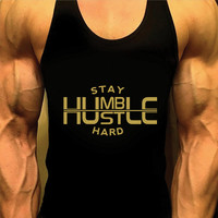 Stay Humble Shirt. Mens Workout Tank Top. Gym Shirt. Gym Clothes. Muscle Tee. Racerback. Weight Lifting. Bodybuilding Shirt. Fitness Apparel