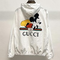 GUCCI New fashion letter mouse print women laser hooded long sleeve coat windbreaker