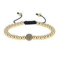 14k Gold Finish Glossy Bead Ball Bracelet Black Simulated Diamonds Charm Braided