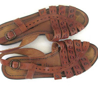 Vintage brown leather Gladiator strappy sandals. womens shoes size 9