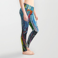 Lady's summer leggings Active wear Casual wear Stretchable leggings Abstract pattern of oil