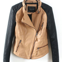 Yellow PU Leather Diagonal Zipper Long Sleeve Jacket