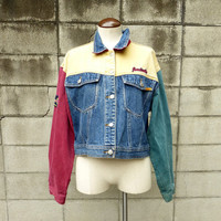 Denim Jean Jacket Vintage 1980s Multicolor Jordache Women's size L