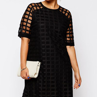 Plus Size Black Mesh  Cut-out Overlay Shift  Dress