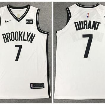 Nike Brooklyn Nets 7 Kevin Durant Basketball Jersey White Player