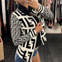 FENDI Classic Autumn Winter Popular Women Personality Mohair F Jacquard Half High Collar Zipper Cardigan Jacket Coat
