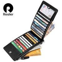REALER brand Wallet card case holder women long multi card purse zip wallets for women 2017 New Fashion leather Lady purse small