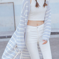 Gray And White Striped Long Sleeve Cardigan