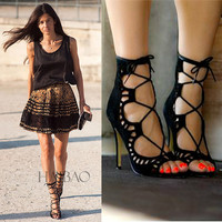 CITY LIFE  Women Sandals Brand Designer Gladiator High Heels Sexy Open Toe Cut Outs