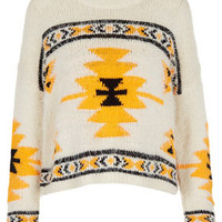 Knitted Hairy Aztec Jumper - Knitwear  - Clothing