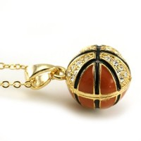 Basketball Necklace Sports Pendant Charm Clear Rhinestone Sports Fashion Jewelry