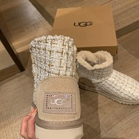 UGG new knit with diamond buckle flat-bottom ski boots shoes
