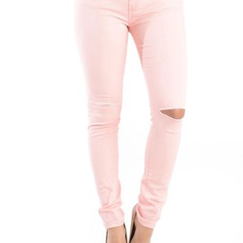 High Waisted Colored Ripped Skinny Pants