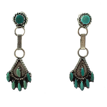 Zuni Needlepoint Turquoise Earrings Sterling SIlver
