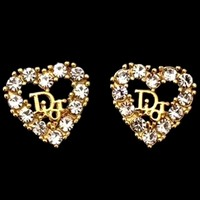 Dior new diamond heart letter logo earrings