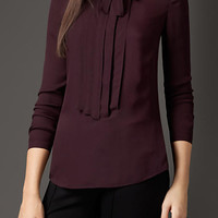 Pleat and Bow Silk Tunic Shirt