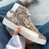 Soulland x Nike SB Blazer Mid snake print high-top versatile sneakers shoes