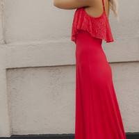 Sweet Cherry Dress – Red Maxi Dress with Lace Crochet Overlay