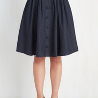 70s, Scholastic Mid-length Full Intern of Fate Skirt in Navy