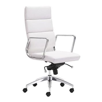 "Leather Office Chair - 21"" X 26"" X 44.5"" White Leatherette High Back Office Chair"