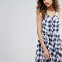 Nobody's Child Smock Dress In Gingham Print With Button Detail at asos.com