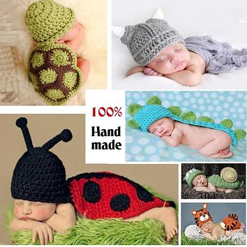 Cute !! Soft born Baby Photography Props Baby Hat Baby Cap Baby Girl/Boy Clothes born Crochet Outfits free shipping