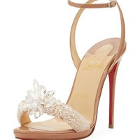 Christian Louboutin Crystal Queen Embellished Sandal, Nude