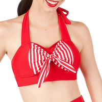 ROXY Red Retro Halter Sailor Bikini Top Sizes S M L by MySugarDoll