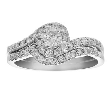 0.52 Carats 3/4 CT Diamond Channel Prong Wedding Engagement Ring Set 14K Gold