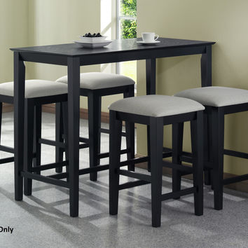 Monarch Specialties Grain Counter Height Kitchen Table, 24-Inch by 48-Inch, Black