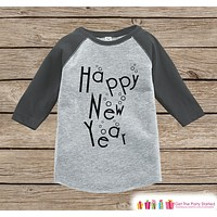 Kids New Year Shirts - Happy New Year - New Years Eve - Onepiece or Shirt - Infant, Toddler Grey Baseball Tee - Champagne Bubbles