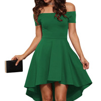 Green Shoulder Off All The Rage Skater Fit and Flare Dress