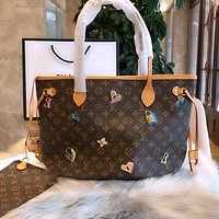LV New Presbyopia Mother Shoulder Tote Handbag Badge Shopping Bag Two-Piece Set