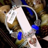 Authentic Pandora Women Fashion Crystal Plated Bracelet Jewelry 925 Sterling Silver Inspirationa Blue