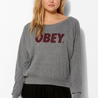 OBEY Font Raglan Long-Sleeve Tee - Urban Outfitters