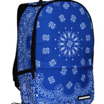Sprayground Backpacks, Bags, and Accessories - Bandana Blue Deluxe Backpack