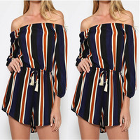 Striped Long Sleeve Off Shoulder Drawstring Romper