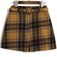 Plaid High Waist Mini Wool Skirt