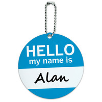 Alan Hello My Name Is Round ID Card Luggage Tag