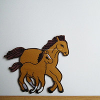 Mother and Baby Horse - Embroidered iron on patch fabric applique no sew - Scrapbook-Costume-CraftSupply gift under 10