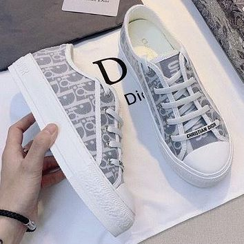 DIOR D letter lace thick bottom shoes increase flat bottom white shoes canvas sneakers single shoes #2