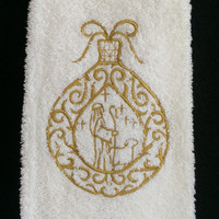 Christmas Ornament With a Shepard, Lamb and Stars Embroidered on a White Bath Hand Towel.