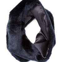 FOREVER 21 Slouchy Faux Fur Snood Navy One