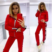 MOSCHINO New Popular Women Casual Round Collar Top Pants Set Two-Piece red,