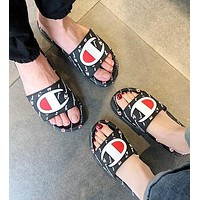 Champion Summer Fashion Women Men Leisure Sandal Slipper Shoes Black