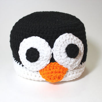 Penguin Beanie, Animal Crochet Hat, Winter Beanie, Animal Beanie, Crochet skullcap, Cyber Monday