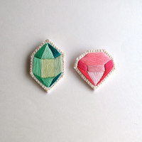 Geometric gem brooch set of two embroidered in pinks and greens Spring fashion pastels