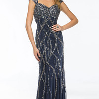 KC14107 Cap Sleeve Beaded Prom Dress or Evening Gown by Kari Chang Couture
