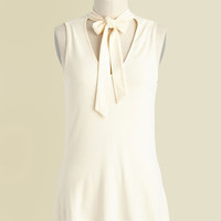 Bold-Faced Tie Tank Top in Ivory | Mod Retro Vintage Short Sleeve Shirts | ModCloth.com