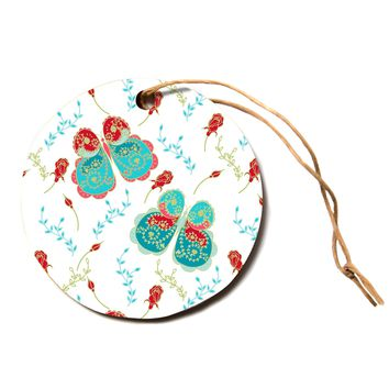 "Anneline Sophia ""Leafy Butterflies Red"" Aqua Butterfly Circle Holiday Ornament"